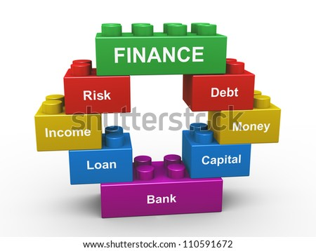 3d render of concept of finance presentation with child toys blocks