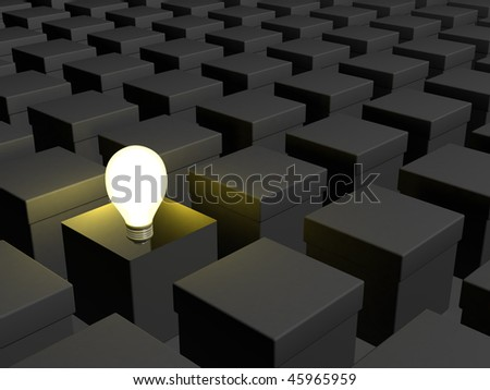 3D render of conceptual image for thinking outside of the box - stock photo