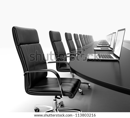 3D render of conference room with black table black leather chairs and laptops - stock photo