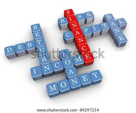 3d render of crossword related to word finance