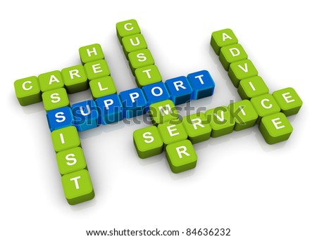 3d render of crossword related to word 'support' - stock photo