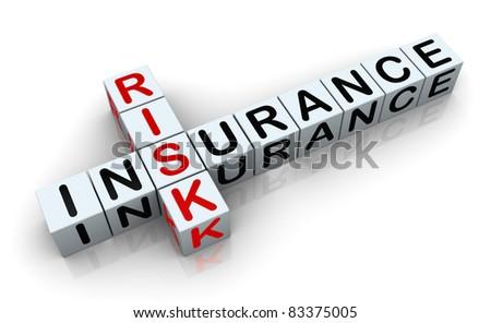 3d render of crossword text 'insurance risk' - stock photo