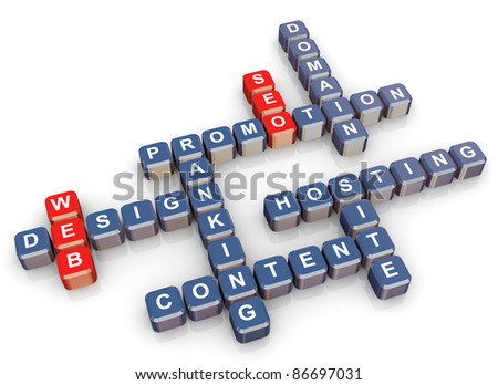 3d render of crossword - web design and website promotion - stock photo