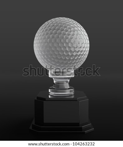 3d render of crystal golf ball trophy on black background - stock photo