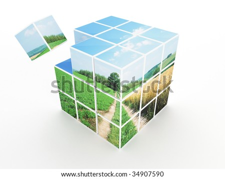 3d Render Of Cube With Sunny Image On Texture (Sky and Grass) - stock photo