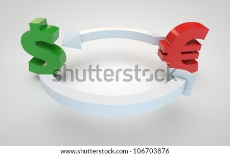 3d render of currency exchange concept