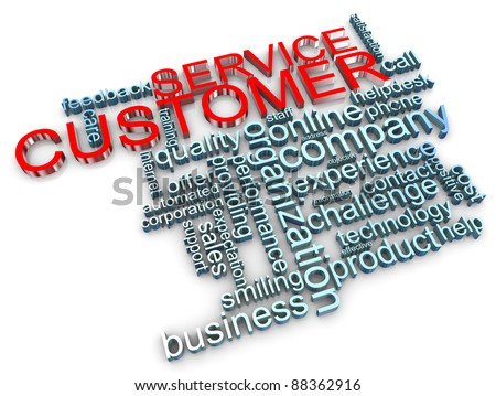 3d render of customer service wordcloud - stock photo