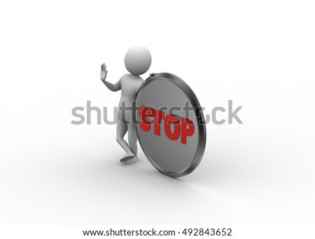 3d render of 3d man with stop icon