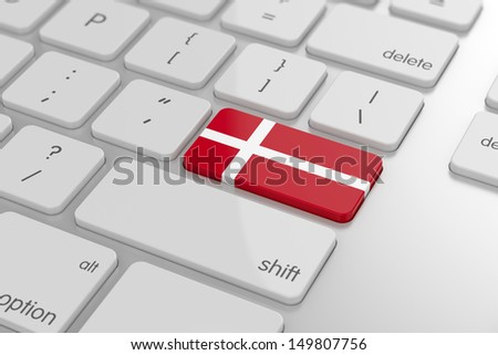 3d render of danish flag button with soft focus
