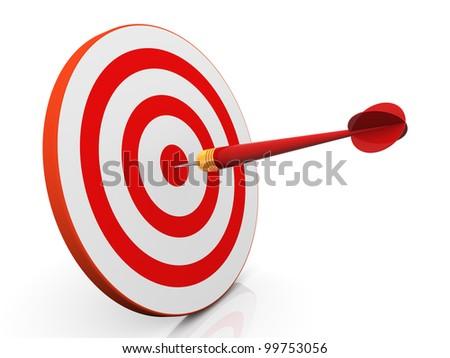 3d render of dart hitting target - stock photo