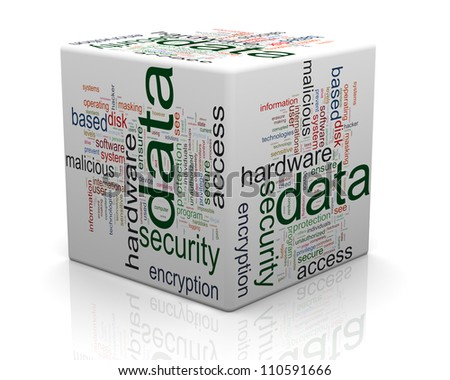 3d render of data protection wordcloud cube. Concept of securing and protecting sensitive data. - stock photo