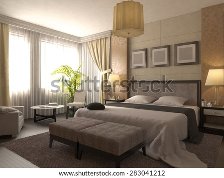 3D render of design of a bathroom in brown and beige color - stock photo