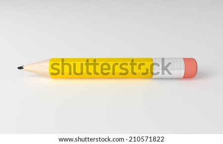 3D render of detailed pencil isolated on grey background.