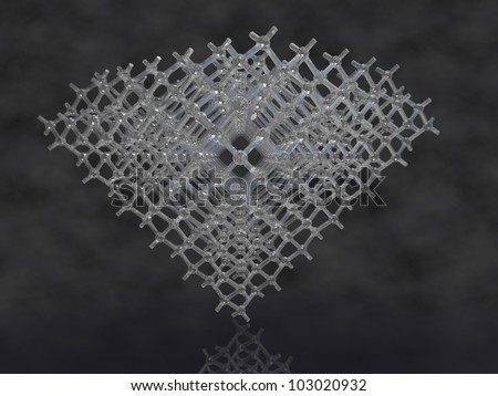 3d render of diamond and its lattice structure on a dark cloudy background