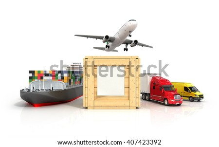 3d render of different modes of transport go out of a wooden box with a blank sheet on it - stock photo