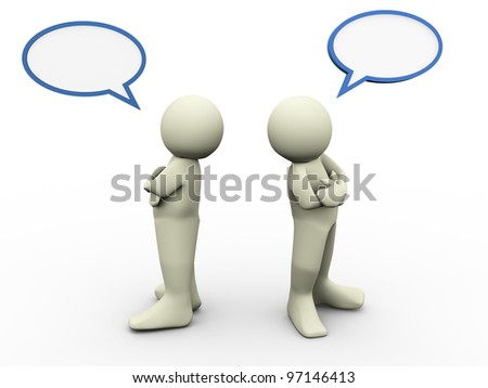 3d render of disagree two person with bubble speech