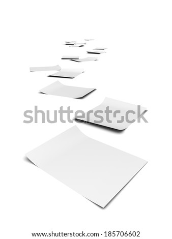 3d render of documents forming a trail to the horizon