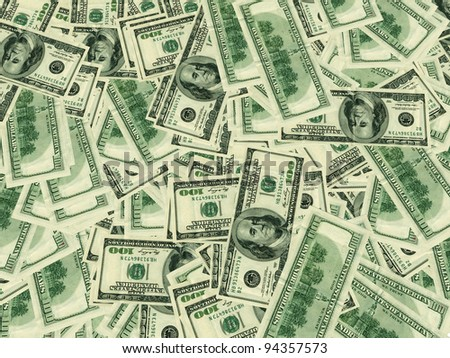 3d render of dollar notes background - stock photo