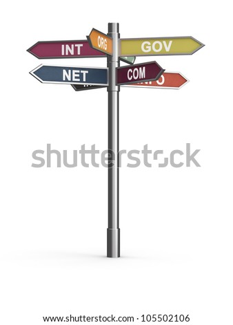 3d render of domain names internet concept. Isolated on white background - stock photo