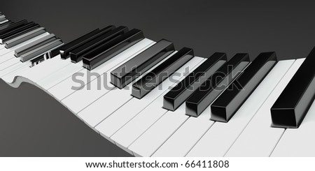3D render of dynamic piano keys.