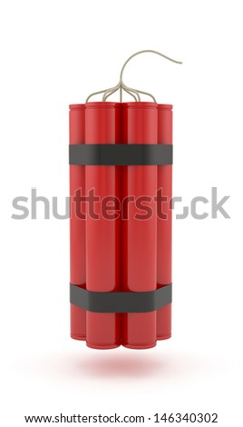 3d render of dynamite isolated on white background - stock photo