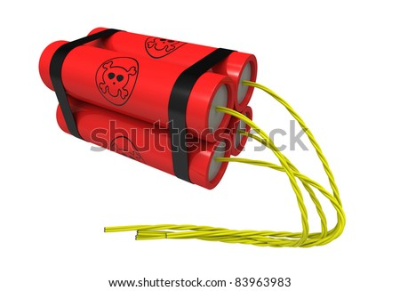 3d render of  dynamite on a white background - stock photo
