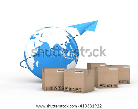 3d render of Earth globe and cartons with a paper plane. International cargo delivery concept. - stock photo