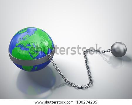 3D render of Earth in chains isolated on white background.
