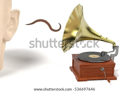 3d render of earworm - musical worm getting from gramophone to ear