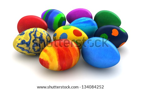 3d render of Easter eggs over white background