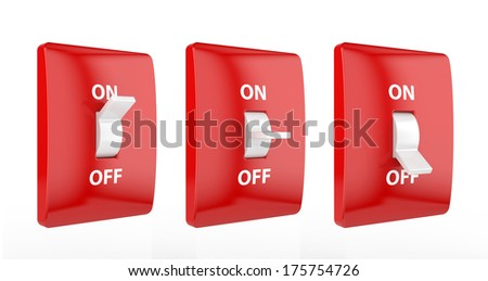 3d render of electric red switch isolated on white background