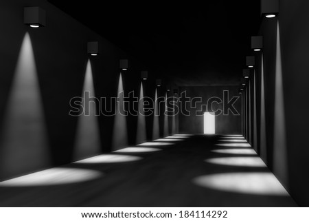 3D render of empty hall with dramatic lights, room to place your object