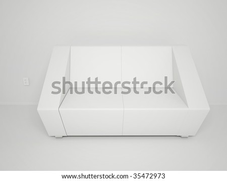 3d Render Of Empty Room With Couch And Outlet - More Variations In My Portfolio - stock photo