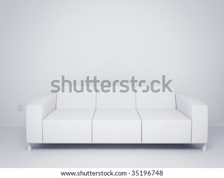 3d Render Of Empty Room With Couch And Socket - More Variations In My Portfolio - stock photo