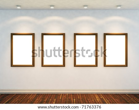 3d render of empty room with four empty frames and four spot lights