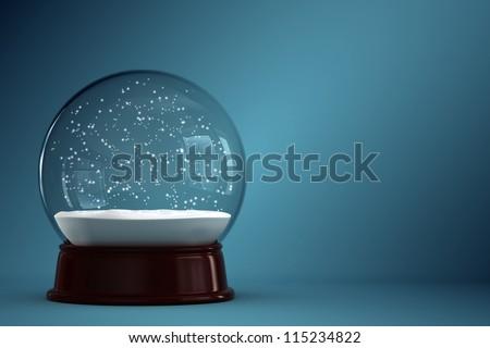 3d render of empty snow globe - stock photo