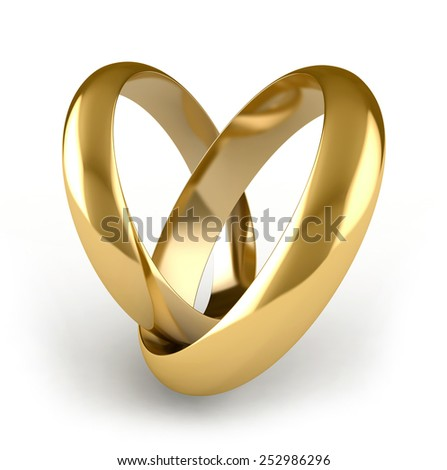 3D render of engagement rings over white background - stock photo