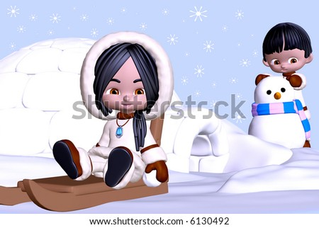 3d render of eskimo girl and boy in winter landscape with sledge, igloo, and snowman - stock photo