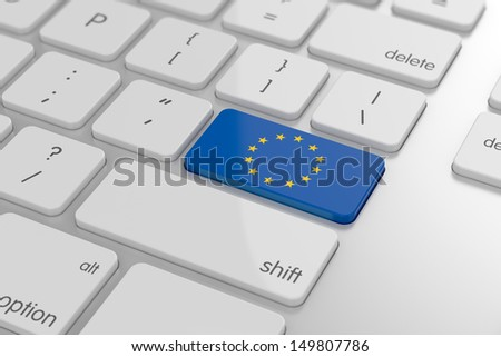 3d render of Europe flag button with soft focus - stock photo