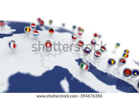 3d render of Europe map with countries flags location pins - stock photo