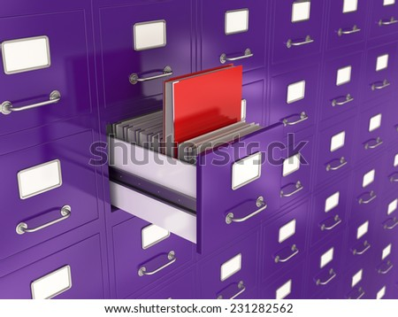 3d render of file drawer with red folder. Search concept - stock photo