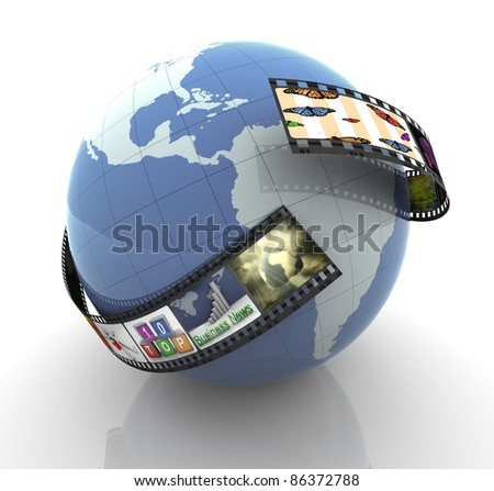 3d render of film strip with images around globe. - stock photo