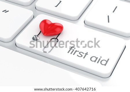 3d render of first aid concept red heart and stethoscope on the white computer keyboard enter button. Computer support concept - stock photo