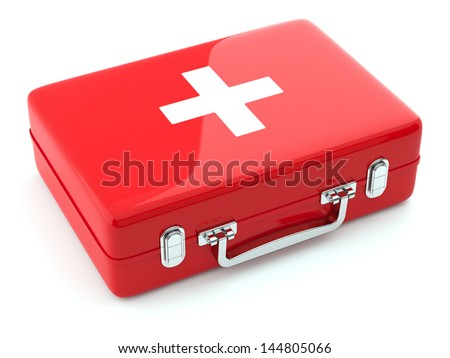 3d render of first aid kit isoalted on white background - stock photo