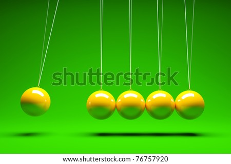 3d render of five balancing balls - stock photo