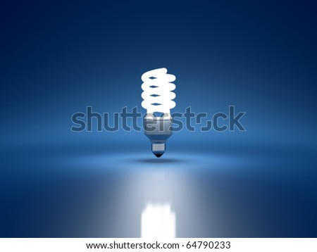 3d render of fluorescent bulb on blue background - stock photo