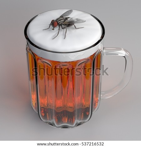 3d render of fly in beer