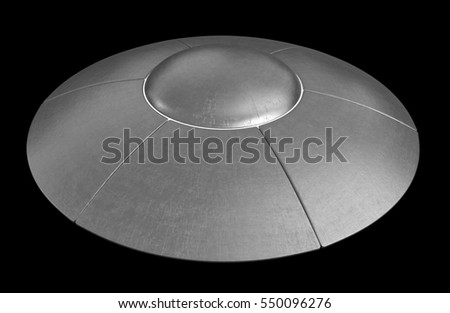 3d render of flying saucer isolated over black background
