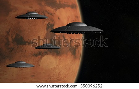 3d render of flying saucers over stars background and Mars planet