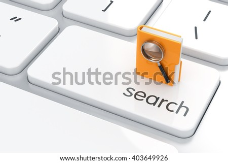 3d render of folder with magnifying glass on the computer keyboard. Search concept - stock photo